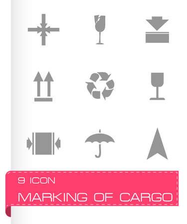 marking: marking of cargo icons set on white background