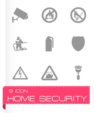 guard house: home security icons set on grey background