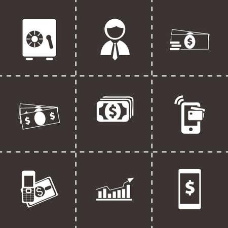 mobile banking: mobile banking icons set on black background