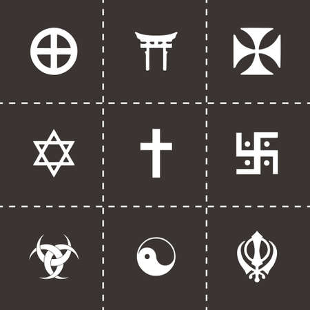 simbolos religiosos: Vector s�mbolos religiosos conjunto de iconos sobre fondo negro