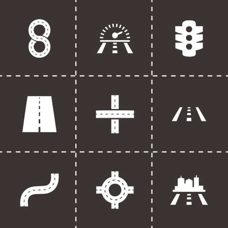 road icon set on black background Vector