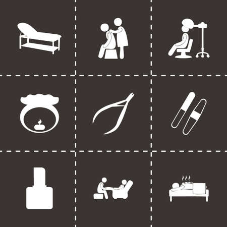spa icon set on black background Vector