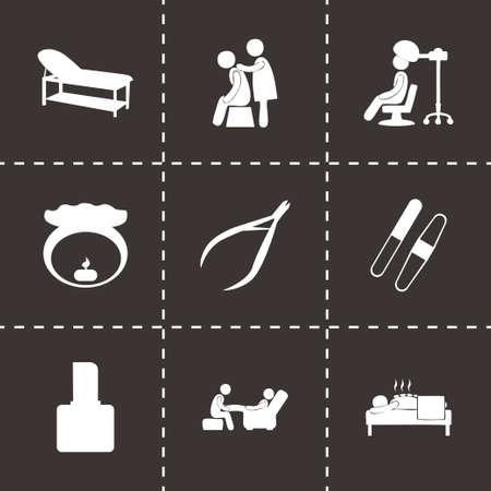 papering: spa icon set on black background Illustration