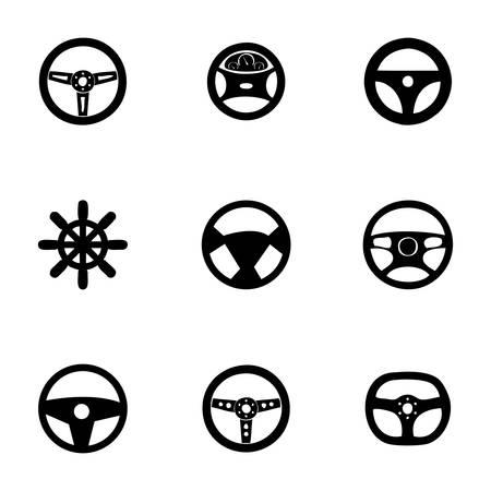 stuurwielen icon set op een witte achtergrond