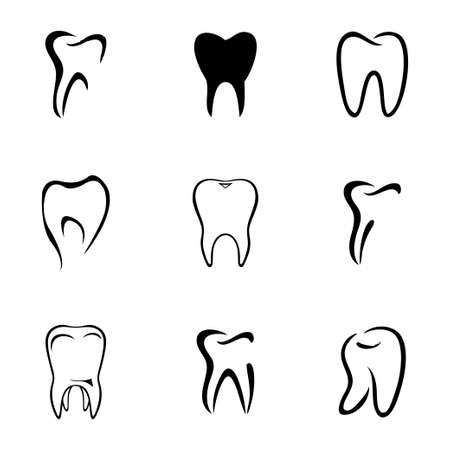 teeth icon set on white background