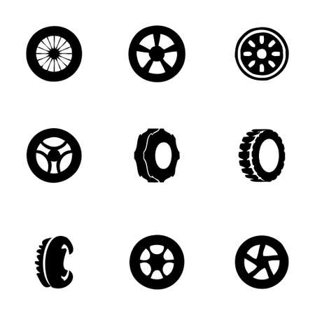 low tire: tire icon set on white background Illustration