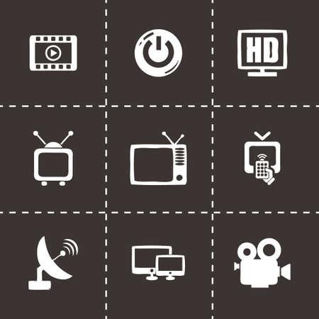 tv icon set on black background Vector