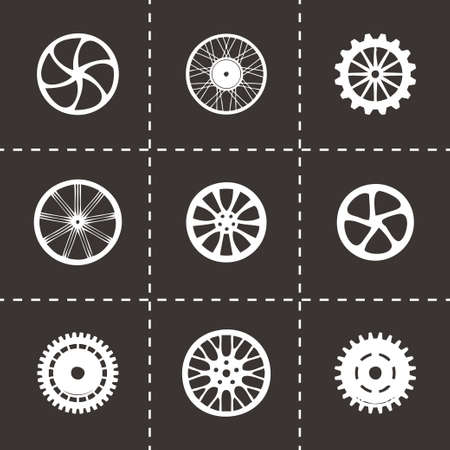 wheel icon set on black background Vector