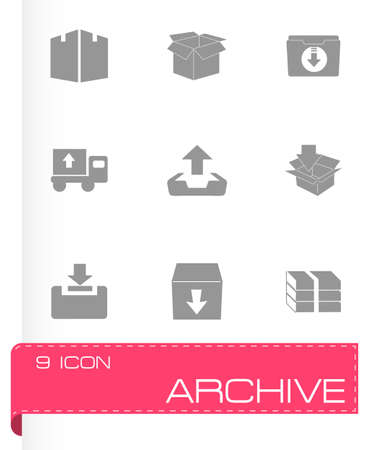 index card: Vector archive icon set on grey background