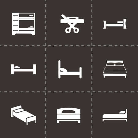 Vector bed icon set on black background Vector