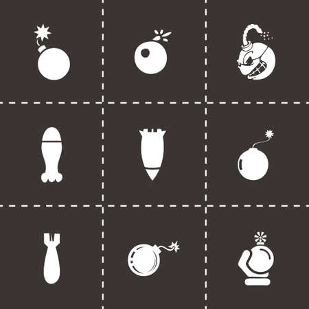 hijack: Vector bomb icon set on black background