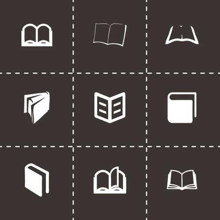 videobook: Vector book icon set on black background