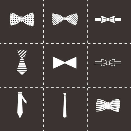 Vector bow ties icon set on black background Vector