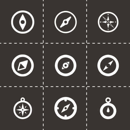 Vector compass icon set on black background Vector