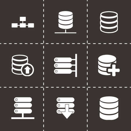 Vector database icon set on black background Vector