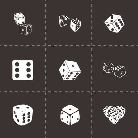 Vector dice icon set on black background Vector
