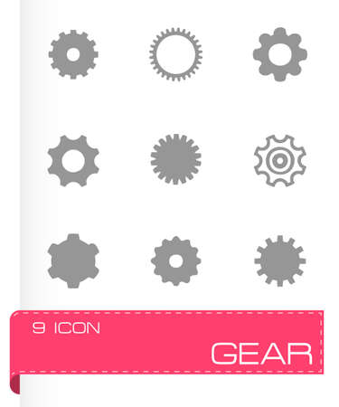 Vector gear icon set on grey background Vector