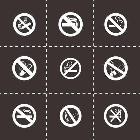 pernicious habit: Vector no smoking icon set on black background Illustration