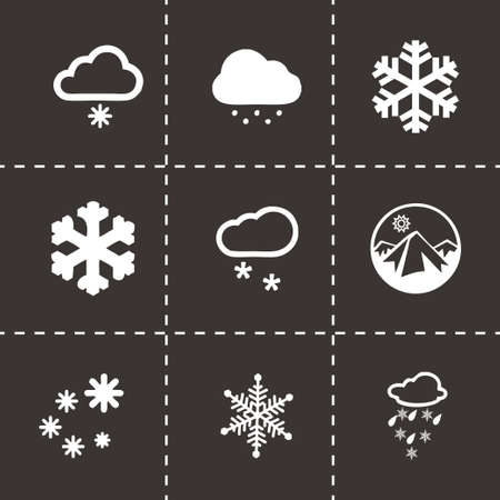 Vector snow icon set on black background Vector