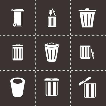 Vector trash icon set on black background Vector