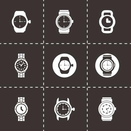 Vector wristwatch icon set on black background