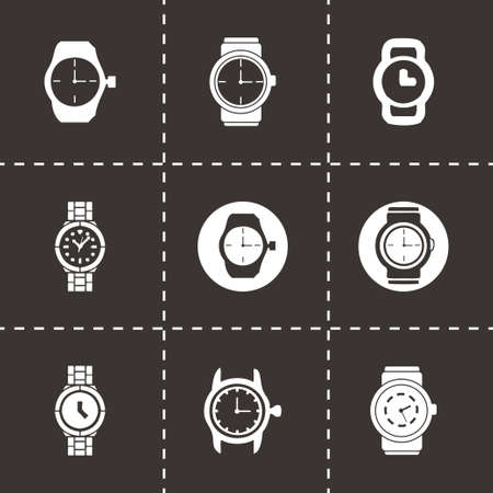 Vector wristwatch icon set on black background Vector