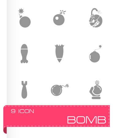 outrage: Vector bomb icon set on grey background Illustration