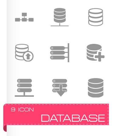 database icon: Vector database icon set on grey background