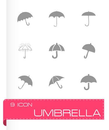 beach closed: Vector umberlla icon set on grey background Illustration