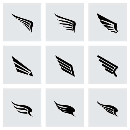 Vector wing icon set on grey background Illustration