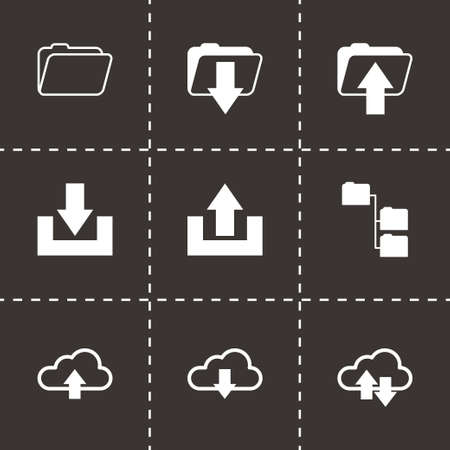 ftp: Vector black ftp icons set on black background