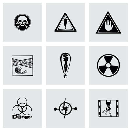Vector Danger icon set on grey background Vector