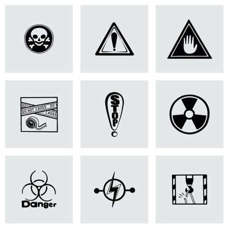 Vector Danger icon set on grey background Vector