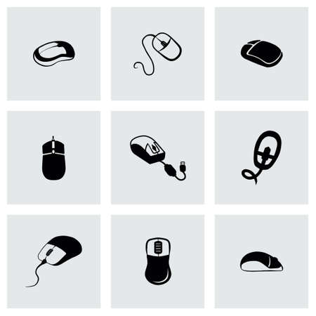 Vector Computer mouse icon set on grey background Иллюстрация