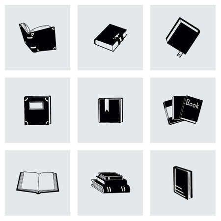 electronic publishing: Vector Book icon set on grey background