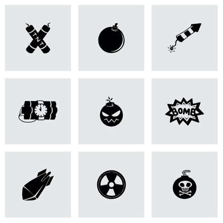 Vector Bomb icon set on grey background Vector