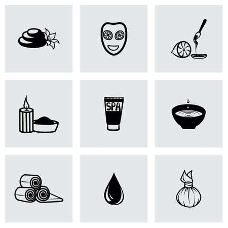 Vector Spa icon set on grey background