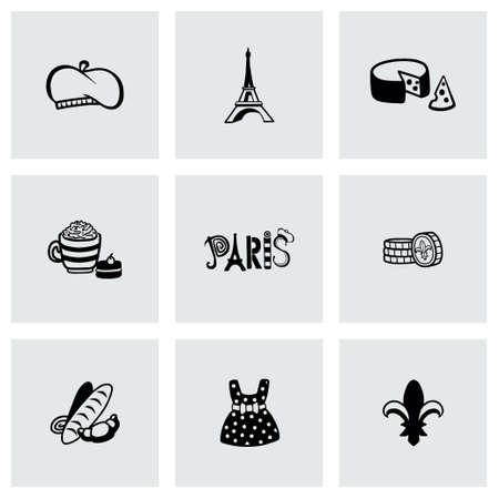 Vector Paris icon set on grey background Vector