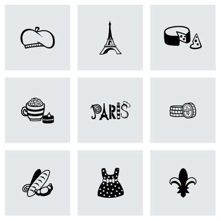 frenchwoman: Vector Paris icon set on grey background