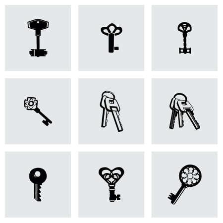 rusty padlock: Vector Key icon set on grey background