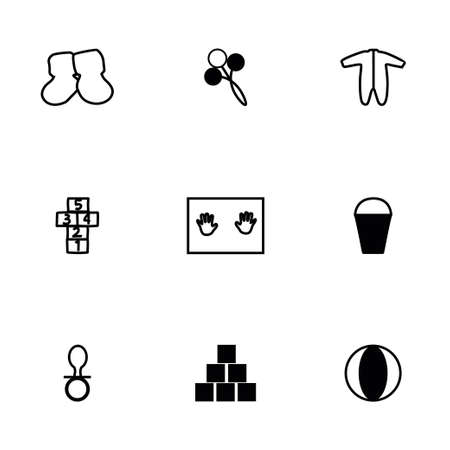 chamber pot: Vector Baby icon set on white background