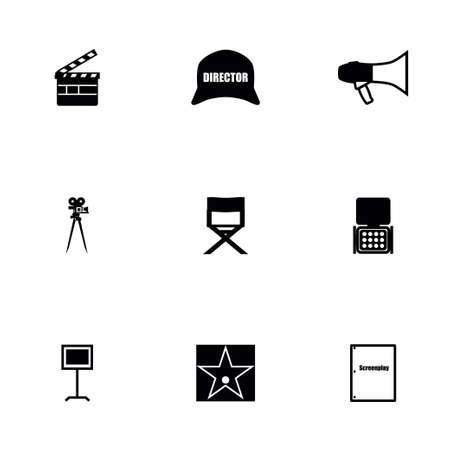 filming: Vector Filming icon set on white background Illustration
