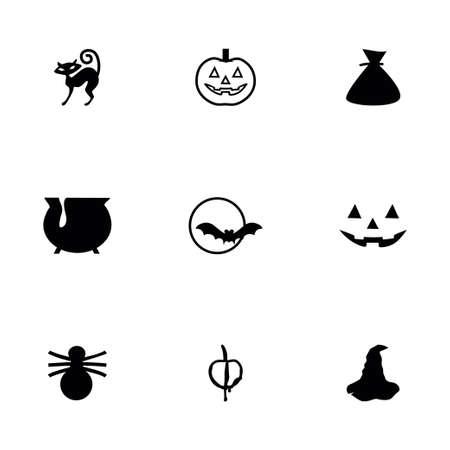 Vector Halloween icon set on white background Illustration
