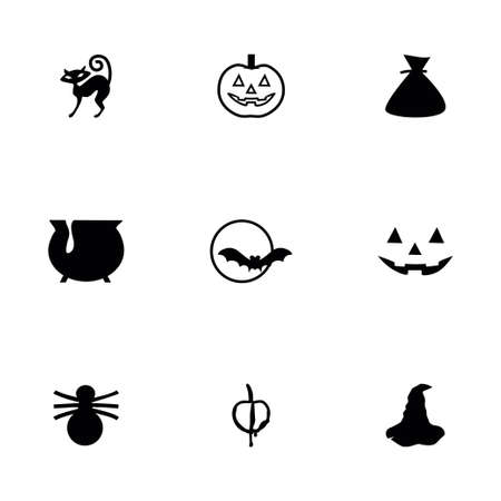 cat s: Vector Halloween icon set on white background Illustration