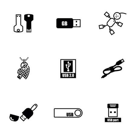 female connector: Vector USB icon set on white background Illustration