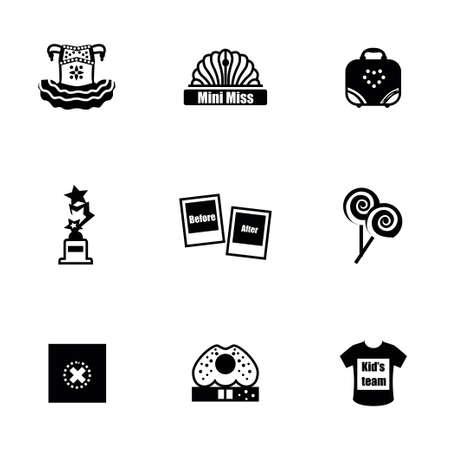 Vecteur Mini Mlle icon set sur fond blanc Banque d'images - 39892208