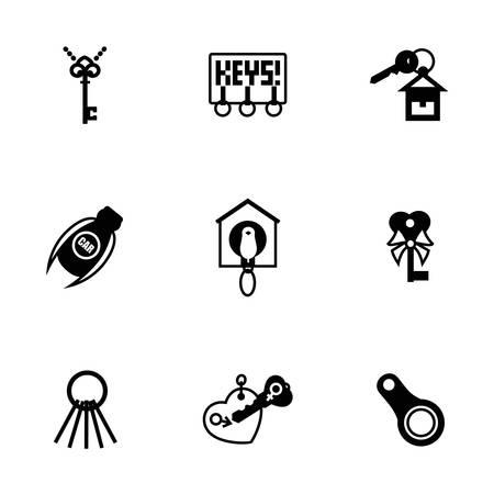 privileges: Vector Key icon set on white background Illustration