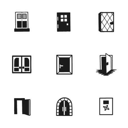 doorknob: Vector door icon set on white background Illustration