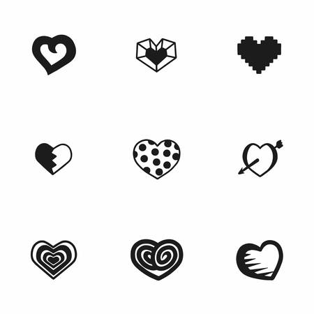 vector hearts: Vector hearts icon set on white background Illustration