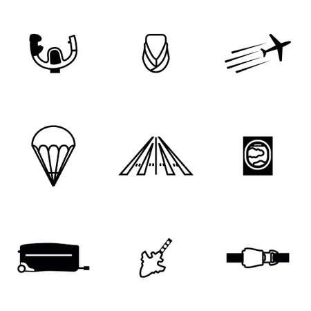 flight steward: Vector Airplane icon set on white background